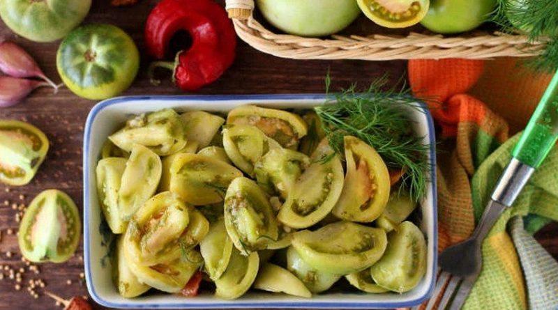 Рецепт маринованных зеленых помидор быстрого приготовления
