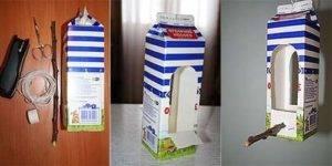 Кормушка из пакета молока для птиц