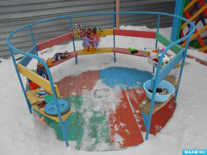 Оформление участка в детском саду зимой
