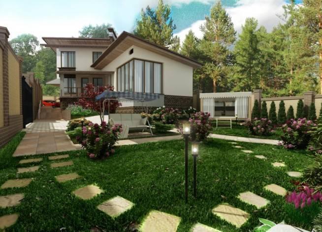 Идеи оформления двора частного дома фото