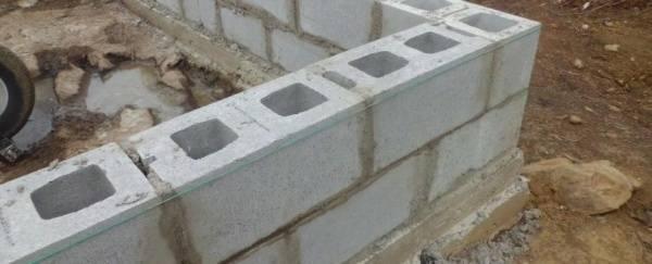 Фундамент для теплицы из блоков