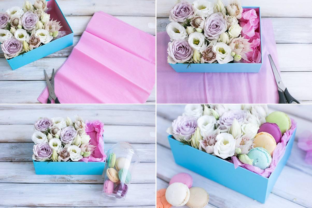 Как составить цветочный букет в коробке своими руками, букет