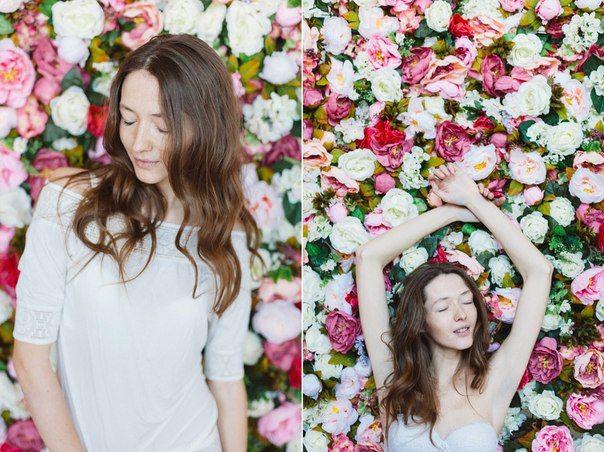 Фотосессия с букетом цветов