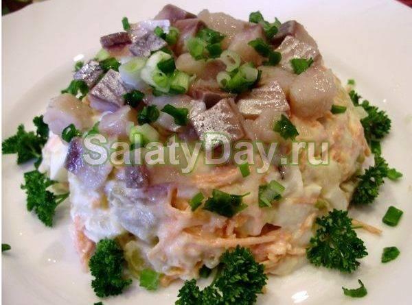 Простой салат из маринованных грибов